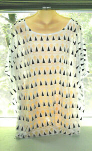Chico#x27;s Geometric Right Angle Triangle Burnout Top Black White Cap Sleeve XL $18.00