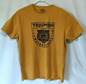 Lucky Brand Mens T Shirt Mustard motorcycles Tiger New with Defects Read