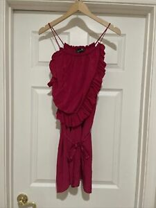 isabel marant runway red ruffle mini sexy dress size 2 which fits a s m $79.99