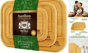 Bamboo Cutting Board Set with Juice Groove 3 Pieces Kitchen Natural