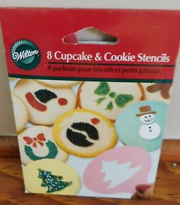 Wilton 8 cupcake and cookie Stencils Christmas New $3.99