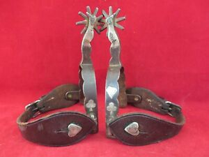 PAIR OF BUERMANN STAR MARKED GAL LEG SPURS SILVER CARD SUIT SILVER