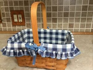 """Longaberger 1997 Spring Basket with Liner Protecter 11"""" X 8"""" X 5 1 2"""" Tall $24.99"""