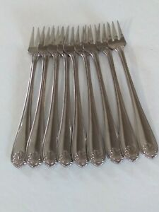 Oneida Northland Royal Shell Sea Food Forks Stainless Steel Set Of 9