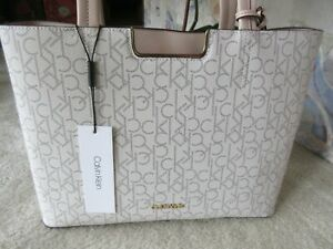 Calvin Klein Beige Monogram Signature Tote Bag With Solid Trim New With Tag $79.95