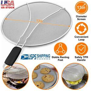 13in Grease Splatter Screen for Frying Pan Stainless Steel Cooking Guard Shield