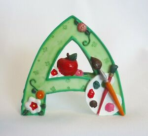 Mary Engelbreit Resin Letter Initial A ME 1999 Apple Art Standing EUC