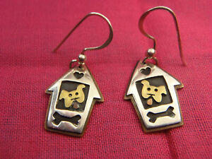 Far Fetched Sterling Dog in Dog House Earrings Way to Cute $36.00