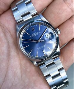 Vintage Rolex 15000 Oyster Perpetual Date Blue Dial BOX PAPERS