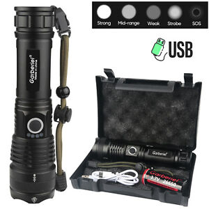 XHP50.2 Powerful Flashlight 5Modes USB Zoom LED Torch Light Best Camping Outdoor