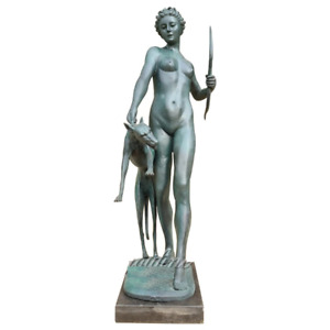 Hunting and Moon Goddess Bronze Sculptures Vintage Figurine Home Decor Statue $2100.00