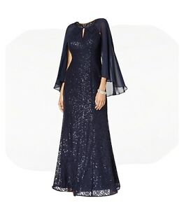 SL Fashions Sequined Cape Gown 18 $70.00