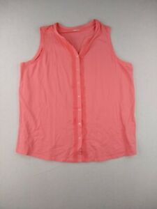Lands End Solid Trim Front Tunic Tank Top Women 2X Coral $16.32