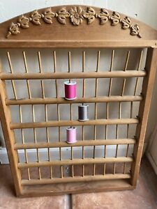 Vintage Wooden Spool Thread Sewing Wall Rack Seamstress Tailor Goals $40.00