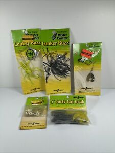 Vintage Mister Twister Fishing Lot Of 5 Lunker Buzz Curly Tail Grub Salt Added