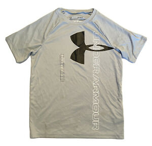 Boys Youth Under Armour Short Sleeve Shirt Size L Large Gray NWOT