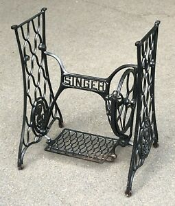 Antique SINGER Sewing Machine Cast Iron Base Pedal Wheel Table Stand Frame $200.00