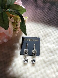NEW Givenchy Silver Tone Crystal Drop Earrings $18.00