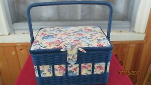 Vintage Sewing Basket Navy With Lilac Flower Print $10.00