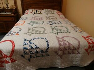 Vintage Antique Baskets Handmade Hand Quilted Quilt Feed Sack Pieced Appliqued $175.00