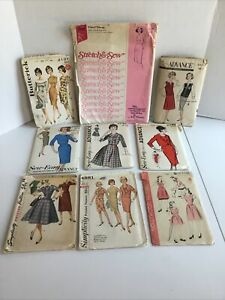 Lot of 9 vintage sewing patterns 1950#x27; 1970#x27;s Advance Stretch n Sew Butterrick $19.95