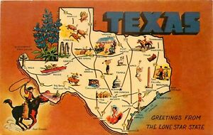TEXAS POSTCARD: LARGE LETTER GREETINGS LONE STAR STATE TX