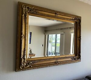 Large Ornate Gilt Beveled Mirror Ready To Hang Vertical Or Horizontal. Local PU $75.00