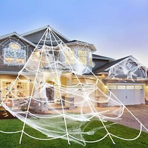 Mega Huge Giant Large Outdoor Yard Giant Spooky Spider Web Halloween Party Decor $13.25