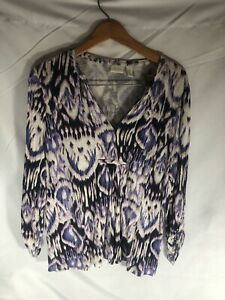Chicos top blouse Purple White Black V neck long sleeve Womens size 3 $20.00