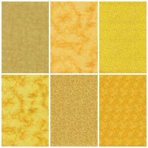 Lot of 6 Fat Quarters in YELLOW amp; GOLD Quilting Sewing Cotton Fabric Bundle $17.75