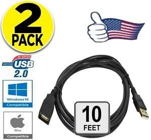 2 PACK USB 2.0 High Speed Extension Cable Male A to Female A Powered Data Sync $6.56