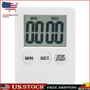 LCD Digital Timer Kitchen Cooking Count down Up Clock Alarm Reminder White S1