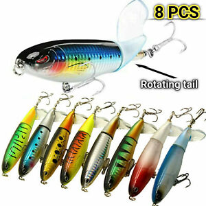 Fishing Lures Whopper Plopper Water Top Baits Rotating Tail Bass Trout 8 Packs