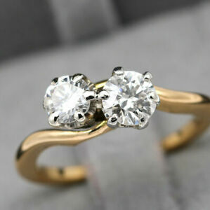Vintage Art Deco 1.10 CT Round Cut Diamond Two Stone Ring 14k Yellow Gold Over $119.58