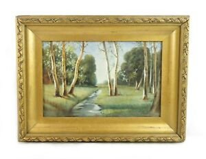 Antique 19th C New Hampshire Birch Trees Stream Landscape Watercolor Painting $135.00