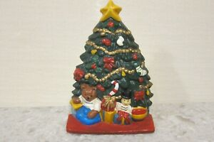 VINTAGE CAST IRON CHRISTMAS TREE PAINTED DOOR STOPPER $19.95