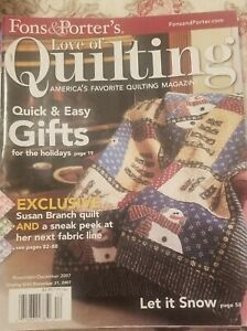 Nov Dec 2007 Fons and Porter#x27;s LOVE of QUILTING quick and easy gifts Holidays $7.87