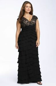 NWOT black Adrianna Papell Lace Bodice Shutter Pleat Gown 22W $149.00