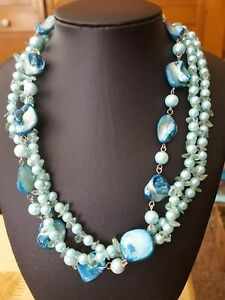Vintage faux pearl glass and mop bead necklace $4.75