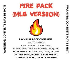 MLB FIRE Hot Pack Mystery w 2 autos relics 10 Stars RCs 1 vintage RC more $27.00