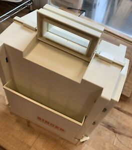 Singer Homechest Home Chest sewing organizer Fold Out Storage White VTG $16.90