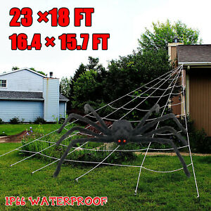 Huge Giant Large Outdoor Yard 5 Rope Spider Web Halloween Scary Spooky Decor Red $9.95