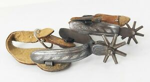 Antique Pair Spanish Colonial Style Silver Inlaid Iron Horse Spurs Cowboy