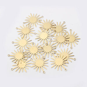 20Pcs Raw Brass Sun Charm Link Connectors for Jewelry Necklace Bracelet Making $4.59