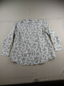 Lands#x27; End Non Iron Long Sleeve Tailored Button Up Shirt Women 22W Ivory