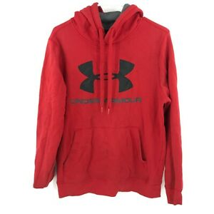 Under Armour Hoodie Mens Small Red Black Coldgear Pullover Hooded Fitted * $24.99