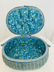 Vintage Wicker SEWING BASKET TURQUOISE Floral Padded Top amp; Inside Dritz? Retro $32.99
