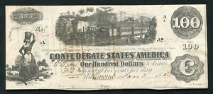 """T 40 1862 $100 ONE HUNDRED DOLLARS CSA CONFEDERATE STATES OF AMERICA """"TRAIN"""" AU"""