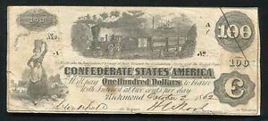 """T 40 1862 $100 ONE HUNDRED DOLLARS CSA CONFEDERATE STATES OF AMERICA """"TRAIN"""" VF"""