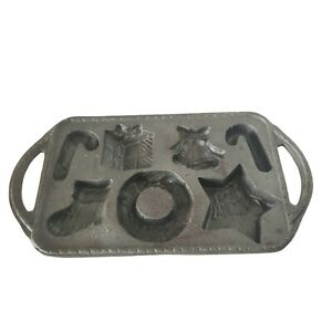 Vintage Cast Iron Christmas Treasures Cookie Mold Pan Wreath Candy Cane Star $20.00